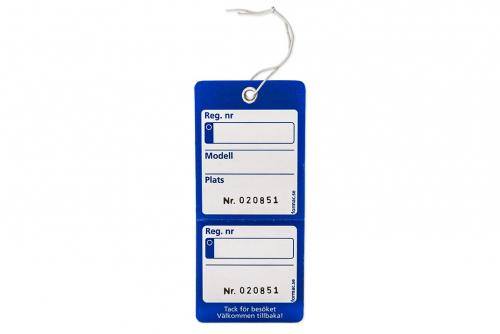 Nyckelmärkning med kvittens - Blå