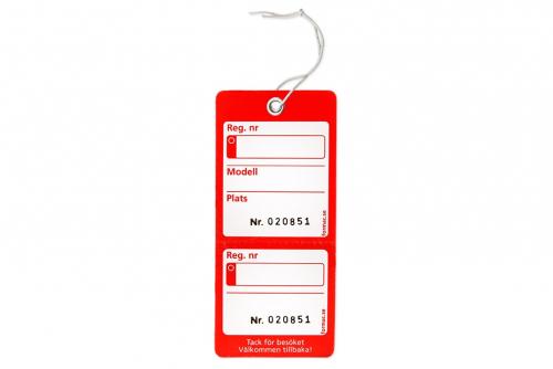 Nyckelmärkning med kvittens - Röd
