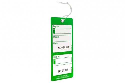 Nyckelmärkning med kvittens - Grön