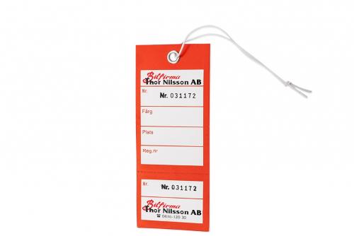 Nyckelmärkning med kvittens 2-färgstryck en sida