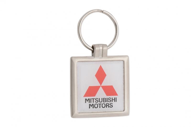Nyckelring metall, kvadrat med Domemärke