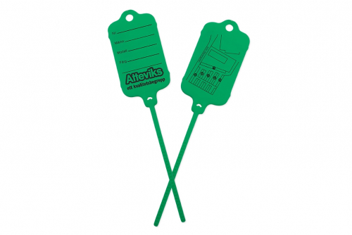 Keytag grön, eget tryck 2-sidor